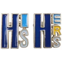 Men's PAUL SMITH Silver Tone Metal Blue & Yellow HIS & HERS Cuff Links
