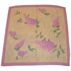 "Da Maren Beautifully Detailed ""Springtime Blooms"" Silk Crepe di Chine Scarf"