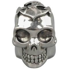 Alexander McQueen Silver Tone Lost At Sea Skull Ring
