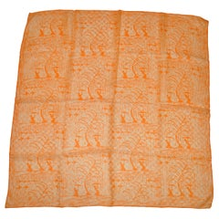 "Vera Ivory and Tangerine ""Ladies Beneath Tree"" Silk Scarf"