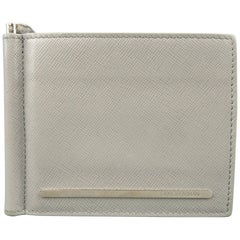 Giorgio Armani Men's Light Gray Textured Leather Money Clip Bifold Wallet