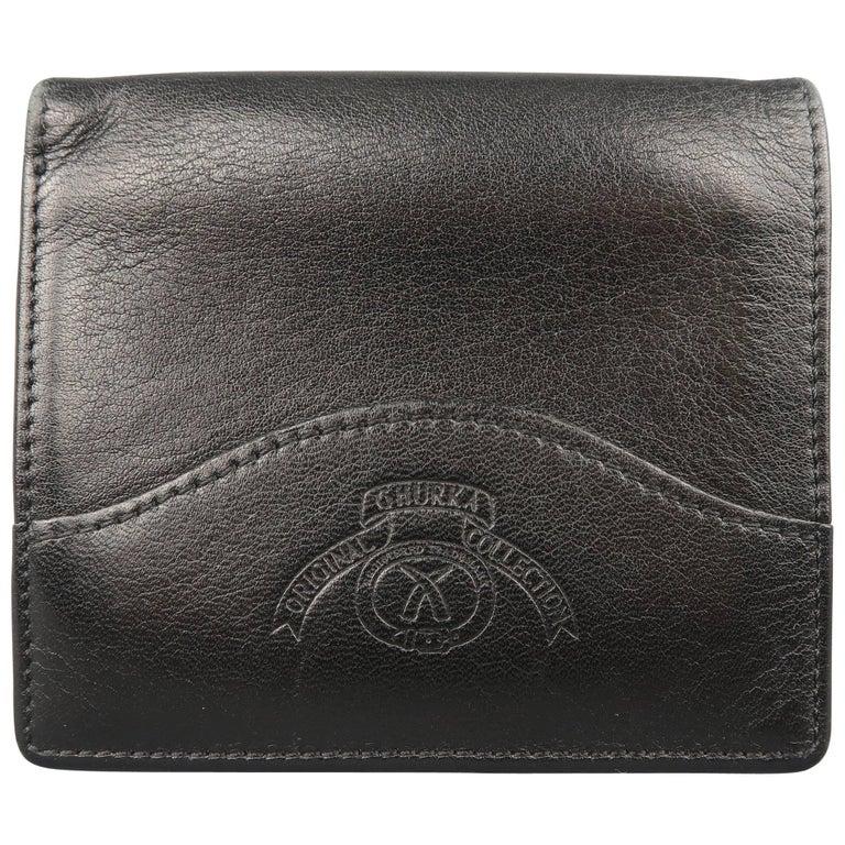 627d2206f850 Ghurka Men s Black Logo Embossed Leather Bifold Wallet at 1stdibs