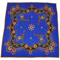 "Imperial Lapis with Multi-Color ""Jewels"" Silk Crepe di Chine Scarf"
