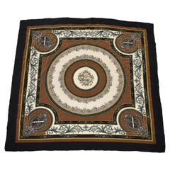 "Majestic Shades of Brown & Black ""Horse Race"" Silk Crepe Di Chine Scarf"