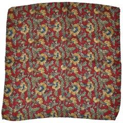 Rich Burgundy & Masculine Floral Silk Handkerchief
