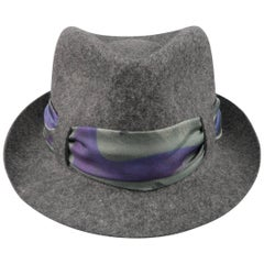 Etro Men's Dark Heather Gray Wool Silk Printed Sash Fedora