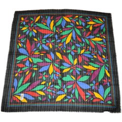 Yves Saint Laurent Black with Multi Color Block Floral Wool Challis Fringe Scarf