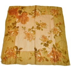 "Large Echo ""Shades of Gold"" Silk and Silk Chiffon ""Roses"" Scarf"