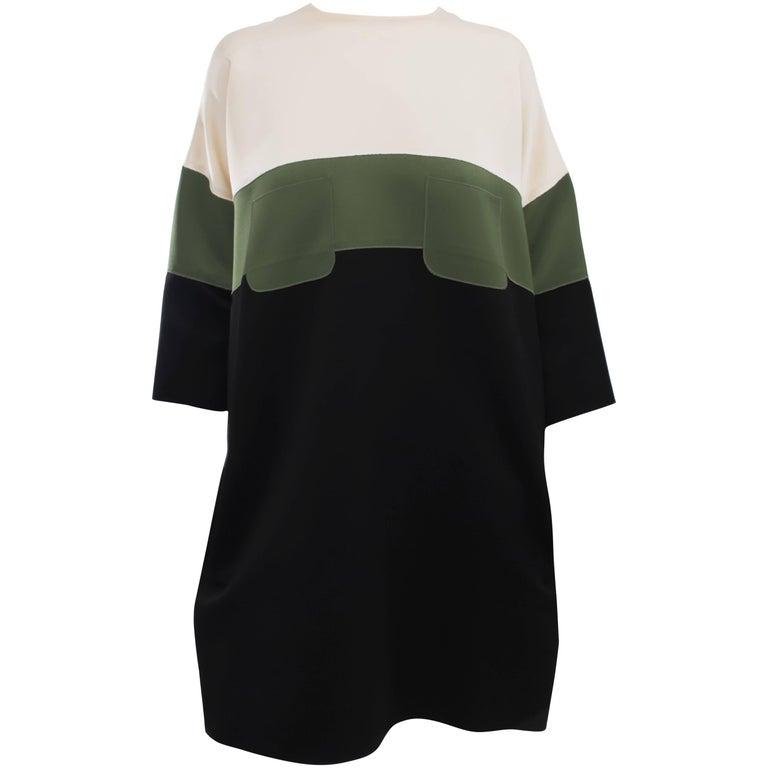Celine Ivory Green Black Color Block Shift Dress