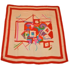 "Large Ivory & Autumn Red & ""Multi Shapes & Abstract"" Silk Crepe Di Chine Scarf"