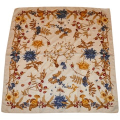 "Ivory with Multi-Color ""Winter Foliage"" Silk Jacquard Scarf"