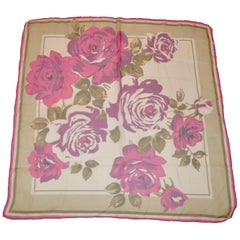 "Fuchsia Borders ""Bouquet of Roses"" Silk Chiffon Scarf"
