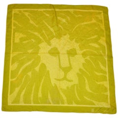 Anne Klein Neon Green & Lime Signature Logo Silk Scarf
