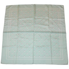 Jade-Green & Ivory Polka Dot Silk Scarf with Hand-Rolled Edges