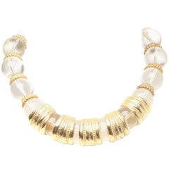 Christian Dior Crystal and Gold Spacer Choker Necklace