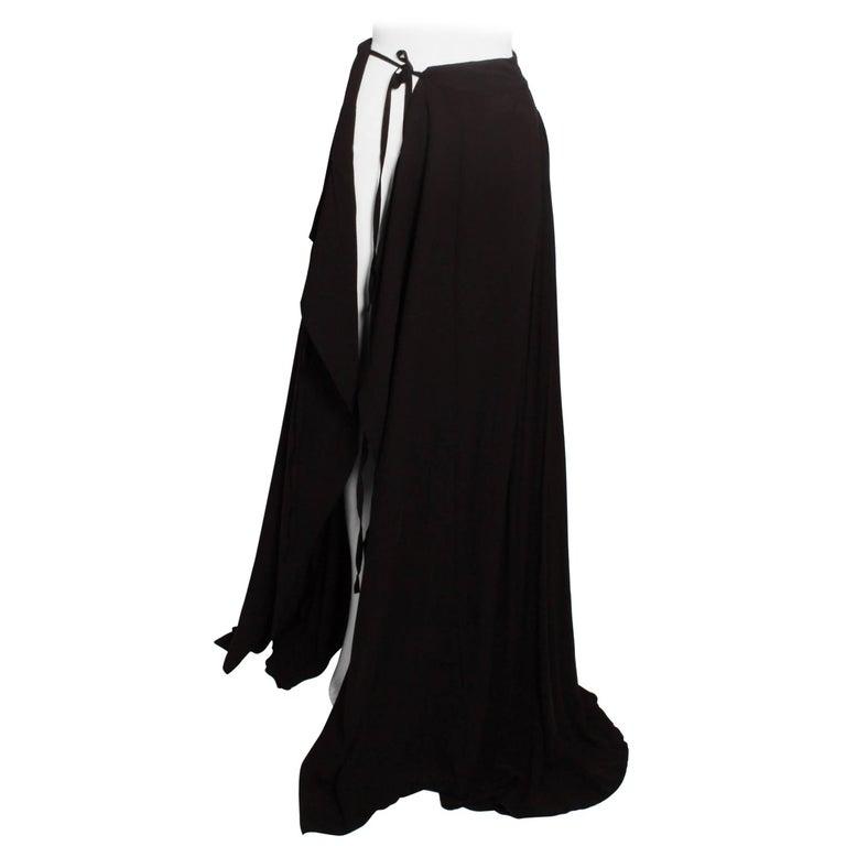 Ann Demeulemeester Black Silk Maxi Wrap Skirt