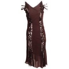 Nicole Farhi 1920s Style Silk Flapper Dress With Sequin Strip Detail