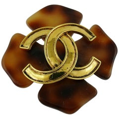 Chanel Vintage Resin and Gold Toned CC Brooch, 1994