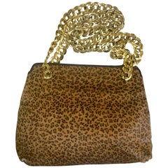 Vintage Bottega Veneta leopard printed genuine fur leather shoulder bag.