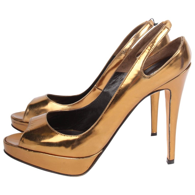 Brian Atwood Peep Toe Pumps - metallic bronze leather