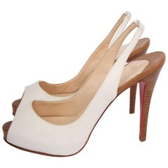 Louboutin Peep Toe Slingback Pumps - white canvas