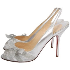 Louboutin Peep Toe Slingback Pumps - silver