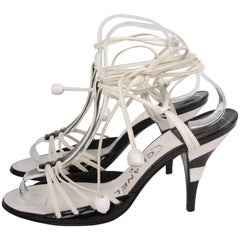 Chanel High Heeled Sandals - black & white