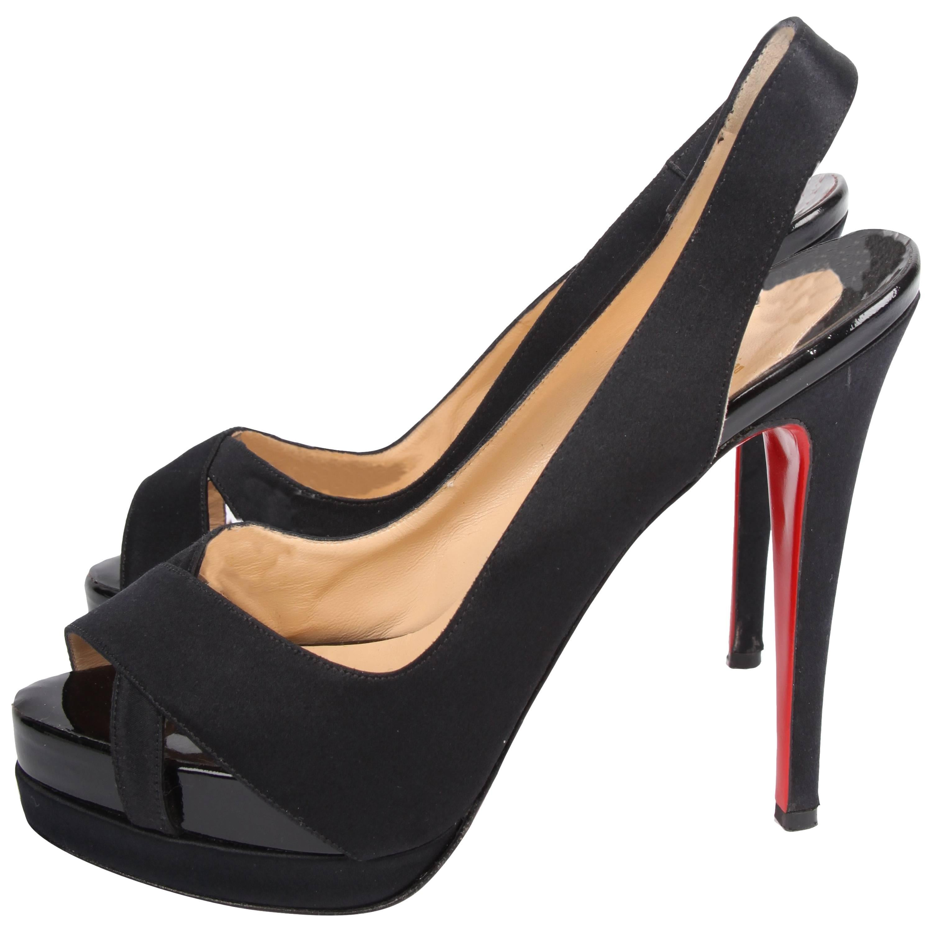 554a9b2cc5c6 Christian Louboutin Satin and Patent Leather Pumps - black at 1stdibs