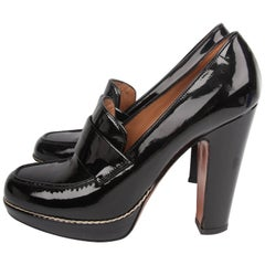 ALAIA Block Heel Pumps - black patent leather