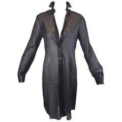 S/S 2000 Dolce & Gabbana Sheer Black Button Down Tunic Dress Blouse