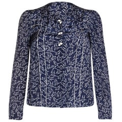 1940s Navy and Cream Blouse With Novelty Dancing Print