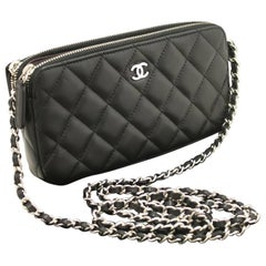 CHANEL Lambskin Wallet On Chain WOC Double Zip Chain Shoulder Bag