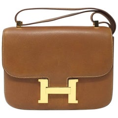 Hermes Paris Vintage Gold Courchevelle Leather Constance Bag, 1976
