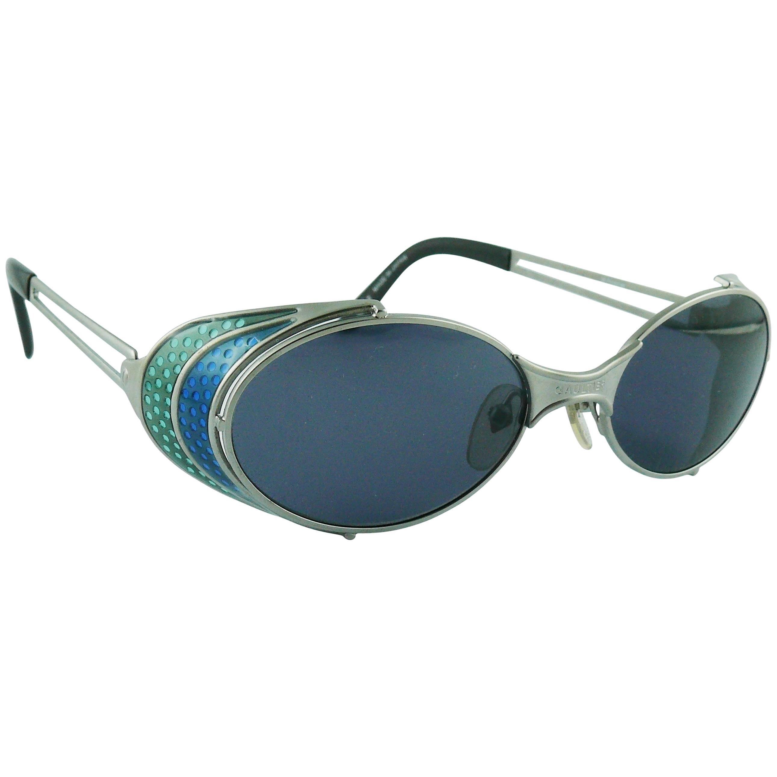 Jean Paul Gaultier Vintage Blue Green Model 56-7109 Steampunk Sunglasses