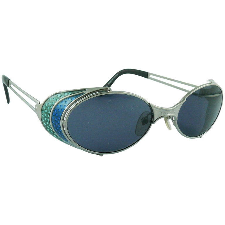 Jean Paul Gaultier Vintage Blue Green Model 56-7109 Steampunk Sunglasses