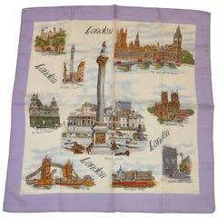 """Scenes of London"" Lavender Border Scarf"