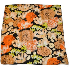 "Enrico Coveri Magnificent ""Blooming Multi Spring Floral"" Silk Scarf"