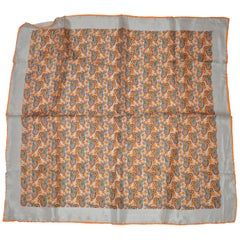 Gray Border with Tangerine Hand-Rolled Edges Multi-Color Palsey Silk Scarf
