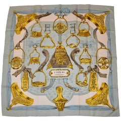 "Hermes Designed by De La Perriere ""Imperial Blue with Gold"" Silk Jacquard Scarf"