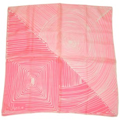 "Vera Ivory & Pink ""Sun & Sunset"" Silk Scarf with Hand-Rolled Edges"