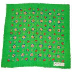 """Liz Claiborne Bold Emerald Green with """"Florals & Cherries"""" Wool Challis Scarf"""