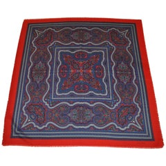 Laura Borghese Rich Large Red Fringed Border with Multi-Color Palsey Scarf
