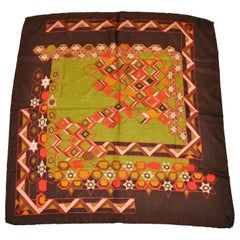 Multi Autumn Hues Abstract with Warm Brown Border Silk Scarf