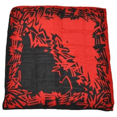 "Liz Claiborne ""Tribal Red and Black Abstract"" Print Silk Scarf"