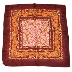 "Bold Multi-Color ""Mod Florals"" With Rich Autumn Brown Borders Scarf"