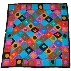 Bold Whimsical Multi-Color Abstract Silk Scarf.