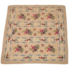 "Saldarini ""Victorian Floral"" Ivory & Beige Silk Scarf"