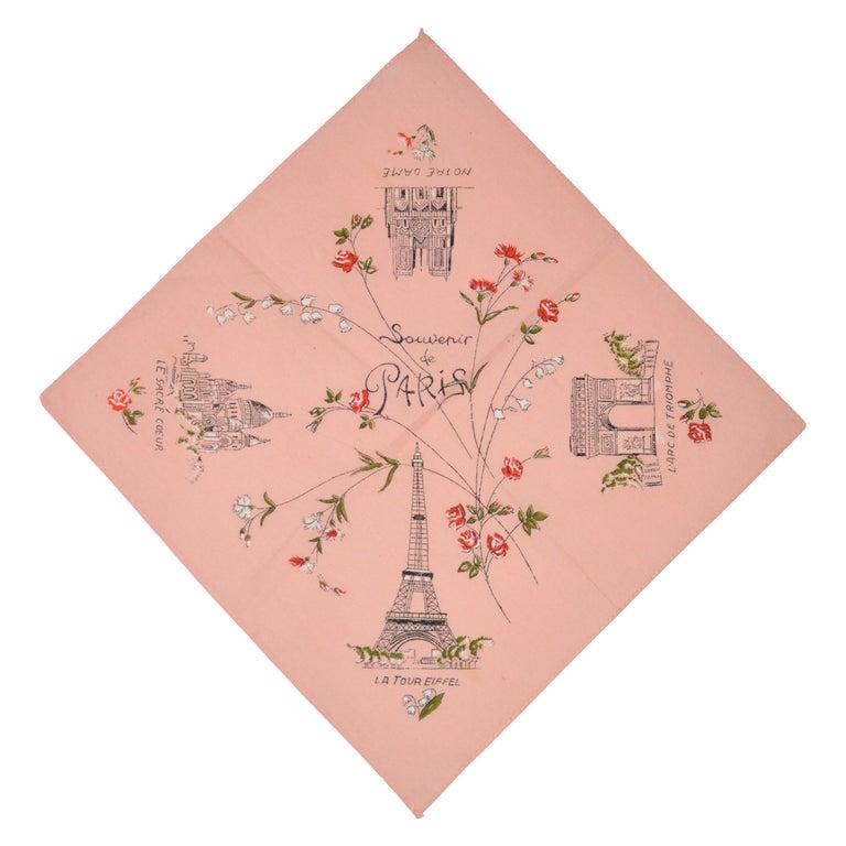 "Powder Pink ""Scenes of Paris"" Cotton Handkerchief"