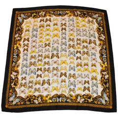 "Multi-Color ""Multi-Butterflies"" Silk Crepe di Chine with Black Border Scarf"