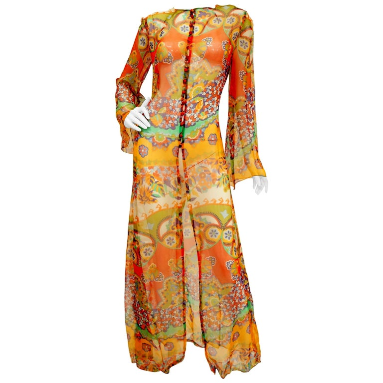 1970s Sheer Polychrome Psychedelic Floral Boho Caftan/Tunic /Cover Up